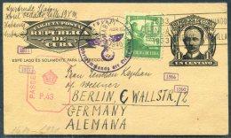 1940 Cuba Uprated Stationery Postcard Censor (British & German) - Berlin, Germany - Cuba