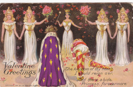 TUCK#6; VALENTINE´S DAY: Greetings, King Welcoming His Princess Bride, Jester, Bridesmaids Holding Bouquets, 00-10s - Valentine's Day