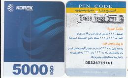KURDISTAN(North IRAQ) - Korek Telecom Mini Prepaid Card 5000 IQD(right), Used