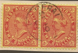 WESTERN AUSTRALIA 1902 2/- Pair SG 124 U #VI754 - Oblitérés
