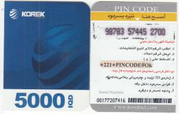 KURDISTAN(North IRAQ) - Korek Telecom Mini Prepaid Card 5000 IQD(right), Used - Télécartes