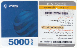 KURDISTAN(North IRAQ) - Korek Telecom Mini Prepaid Card 5000 IQD(left), Used - Phonecards