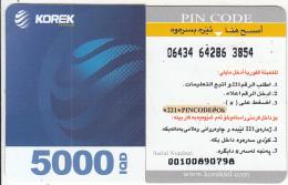 KURDISTAN(North IRAQ) - Korek Telecom Mini Prepaid Card 5000 IQD(left), Used - Telefoonkaarten