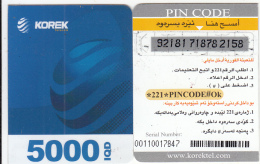 KURDISTAN(North IRAQ) - Korek Telecom Mini Prepaid Card 5000 IQD(right), Used - Phonecards