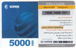 KURDISTAN(North IRAQ) - Korek Telecom Mini Prepaid Card 5000 IQD(left), Used