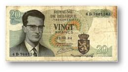 BELGIUM - 20 Francs - 15.06.1964 - P 138 - Sign. 20 - Prefix 4 D - King Baudouin I - BELGIE BELGIQUE - 2 Scans - [ 6] Treasury