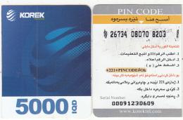 KURDISTAN(North IRAQ) - Korek Telecom Mini Prepaid Card 5000 IQD(right), Used - Iraq