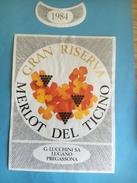 1466 - Suisse Tessin Merlot Del Ticino Gran Riserva 1984 Lucchini - Sonstige