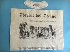 1481- Suisse Tessin Merlot Del Ticino 1987  Rudera Castelli Serravalensis - Etiquettes