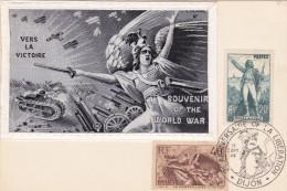Carte-Maximum FRANCE N° Yvert 314-315 (LA MARSEILLAISE) Obl Sp Ill Dijon 1946 - Cartes-Maximum