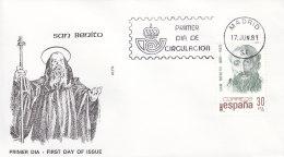 EUROPA, CEPT-Mitläufer: Spanien 2503, FDC, HI. Benedikt Von Nursia, Patron Europas, 1981 - Europa-CEPT
