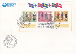 """EUROPA, CEPT-Mitläufer: DÄNEMARK Färöer, Block 1, FDC, Einweihung Des Neuen Kulturhauses """"Haus Des Nordens"""", - 1983"""