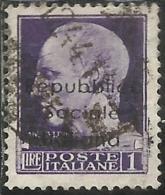 EMISSIONI LOCALI 1944 TERAMO SOPRASTAMPATO SURCHARGED LIRE 1 USATO USED OBLITERE´ - Emissions Locales/autonomes