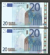"Error! Lot 2 Consecutive Numbrs Greece  ""Y""  20  EURO GEM UNC! Duinseberg Signatures! Printer N001A1 (one Error!) - EURO"