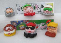 Kinder 1999 : Série 6 Têtes à Roulettes - K99n108-n109-n110-n111-n1 12-n113 Avec 2 BPZ - Lots