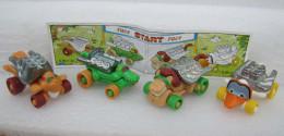 Kinder 1999 : Série 4 Dragsters Animaux (moteur Métal) - K99n19-n21-n22-n23 Avec 1 BPZ - Kinder & Diddl