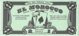 El Morocco Casino Las Vegas, NV - El Morocco Buck - 2 For 1 Match Play Coupon - Advertising