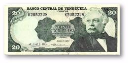 VENEZUELA - 20 Bolívares - 07 / 06 / 1977 - Serie K - Pick 53b - BOLÍVAR LIBERTADOR E MARISCAL SUCRE - 2 Scans - Venezuela