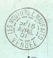 1901-Très Beau Cachet MOUTIERS LES MAUFAITS(Mauxfaits)-85-Vendée Du 15 Avril Sur Carte Postale(barbier,coiffeur)-Sage - Marcophilie (Lettres)