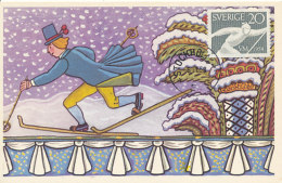 D25189 CARTE MAXIMUM CARD 1958 SWEDEN - LANGLAUFEN CP ORIGINAL - Skiing