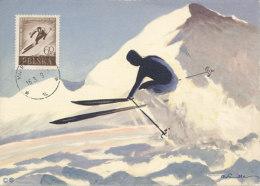 D25190 CARTE MAXIMUM CARD RR 1959 POLAND - SKIING CP ORIGINAL - Skiing