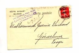 Carte Cachet Mulhouse  Sur Semeuse - Marcophilie (Lettres)