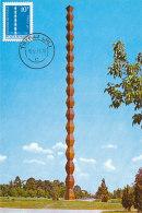 D25200 CARTE MAXIMUM CARD 1973 ROMANIA - TIRGU JIU - COLUMN OF INFINITE GRATITUDE BY BRANCUSI CP ORIGINAL - Monuments