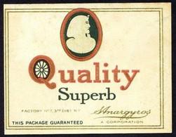 S. Anargyros *Quality Superb* Meds: 49 X 63 Mms. Dorso En Blanco. - Objetos Para Fumadores