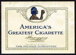 S. Anargyros *America´s Greatest Cigarette* Meds: 52 X 73 Mms. Dorso En Blanco. - Tabac (objets Liés)