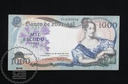 Portugal 1000 Escudos Banknote 1967, Queen Maria II - F - Portugal