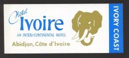 Abidjan. Côte D´Ivoire *Hotel Ivoire* Meds: 63 X 152 Mms. Auto-adhesiva. - Etiquetas De Hotel