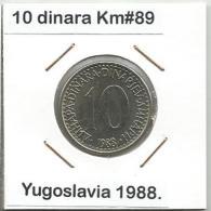 D9 Yugoslavia 10 Dinara 1988. UNC KM#89 - Yugoslavia