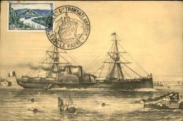 FRANCE - Cachet  Centenaire De La Cie Générale Transatlantique Du Havre En 1955 Sur Carte De Bateau - A Voir - L 1134 - Storia Postale