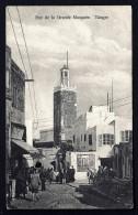 CPA ANCIENNE- MAROC- TANGER- RUE DE LA GRANDE MOSQUÉE AVEC BELLE ANIMATION GROS PLAN- - Tanger