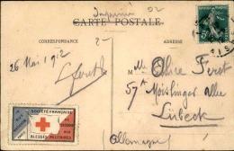 FRANCE - Vignette De Croix Rouge Sur Carte Postale De Laon En 1912 - A Voir - L 1146 - Commemorative Labels