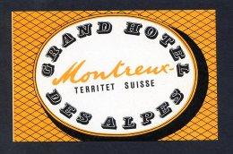 Montreux -Territet. Suiza *Grand Hotel Des Alpes* Meds: 68 X 105 Mms. Dorso En Blanco. - Hotel Labels