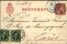 SUÉDE - Entier Postal ( Carte Lettre ) Pour Paris En 1892 - A Voir - L 1161