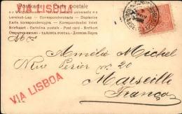 """BRÉSIL - Carte Postale Pour La France Avec Griffe """" Via Lisboa """" En 1906  - A Voir - L 1167 - Cartas"""