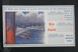 1932 Calendar Blotter Boats & Harbour - Spanish Paint Advertising - Other Collections