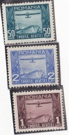 #135    AVIATION STAMPS, 3 X UNUSED STAMPS, 1931, ROMANIA. - Fiscali