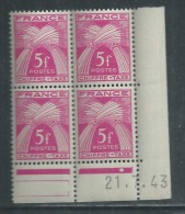 France Taxe N° 75 XX Type Gerbes : 5 F. En Bloc De 4 Coin Daté Du 21 . 7 . 43 . 1 Pt Blanc, Ss Cha. Qq Dents Détachée TB - Postage Due