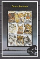 Mozambique 1999,9V In Block,wild Cats,katten.katzen,chats,gatos,gatti,MNH/Postfris(L2474) - Roofkatten