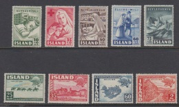 1949 ** Islande (sans Charn., MNH, Postfrish) Complete Yv 215/23  Mi 254/62  FA 288/96  (9v) - Island