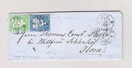 Heimat Schweiz ZUZ 7.1.1862 Brief Nach Jena Deutschland Mit 10 Und 40Rp Strubel - Lettres & Documents