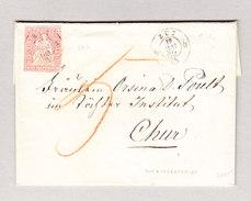 Heimat Schweiz ZUZ  19.5.1862 Brief Nach Chur Mit 15Rp Strubel - 1854-1862 Helvetia (Non-dentelés)