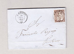 Heimat Schweiz GR ABRUSIO 11.2.1864 Brief Nach Poschiavo Mit 5Rp Sitzende Helvetia - 1862-1881 Helvetia Assise (dentelés)