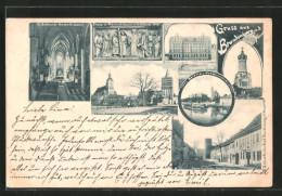 AK Brandenburg, Kriegerdenkmal, Plauer Tor-Turm Mit Plauer Strasse, Inneres D. St. Gotthardt-Kirche - Brandenburg