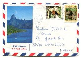 4 Lettres Avec Timbres Polynésie Française 1985 1986 - French Polynesia