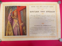Diploma Devotie - Bond Heilig Hart - Ijveraar Georges Imant - St Amandsberg 1942 - Diplome Und Schulzeugnisse