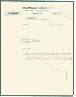 FACTURE PHARMACIE CANONNE BOULEVARD SEBASTOPOL à PARIS 1947 - France